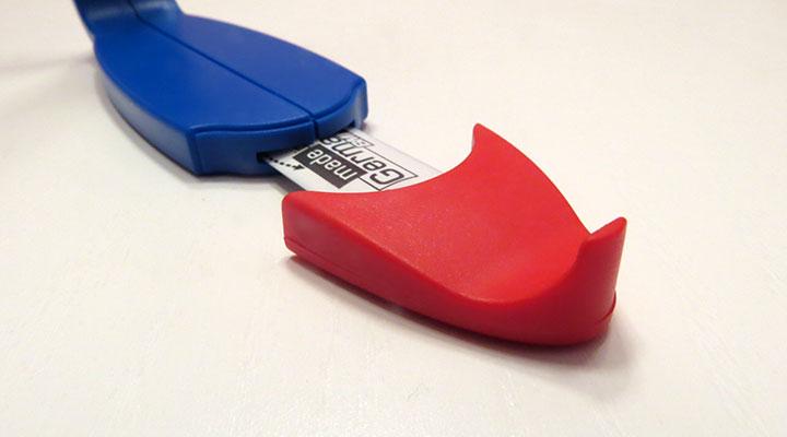Die rote Nase des plus12 Fußmessgerät / Schuhmessgerät.